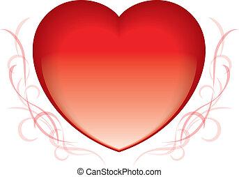 coração, vermelho, valentine