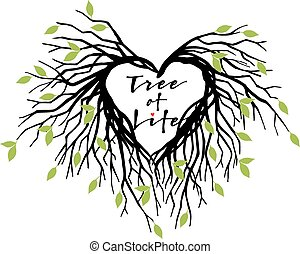 coração, vetorial, árvore, vida