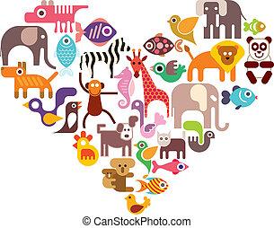 coração, vetorial, ícones animais