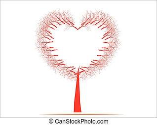 Coração, vetorial, Amor,  valentines, árvore, isolado, Ilustração, tendo, formas, outro, fundo, ocasiões, Dia, vermelho