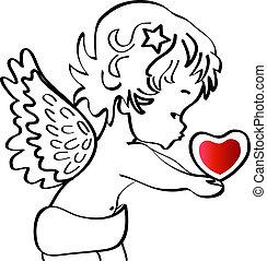 coração, vetorial, anjo, estoque