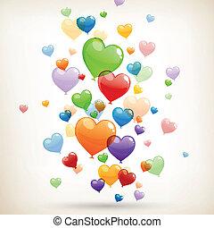 coração, vetorial, balões