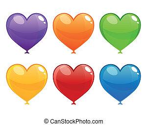 coração, vetorial, balões, coloridos
