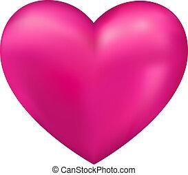 coração, vetorial, brilhante, 3d