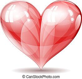 coração, vetorial, brilhante, lustroso, illustration.