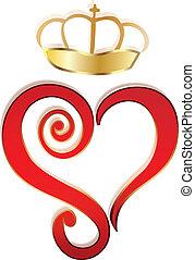 coração, vetorial, coroa, logotipo