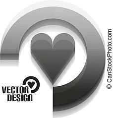 coração, vetorial, desenho, cinzento, 3d
