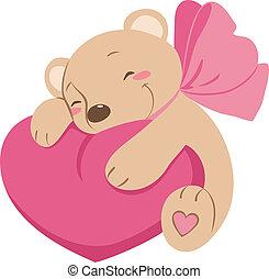 coração, vetorial, doce, urso, pelúcia