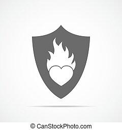 coração, vetorial, flame., ilustração