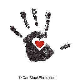 coração, vetorial, handprint, vermelho, símbolo.