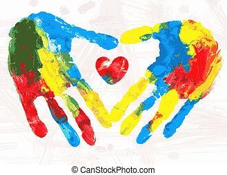 coração, vetorial, illustration., impressão, mãos