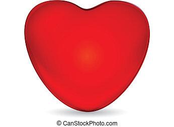 coração, vetorial, lustroso, logotipo