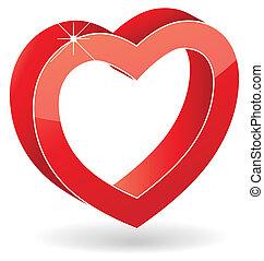 coração, vetorial, lustroso, vermelho, 3d