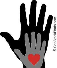 coração, vetorial, mãos