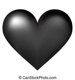 coração, vetorial, pretas, ilustração