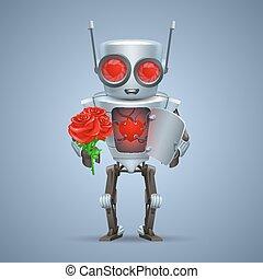 coração, vetorial, robô