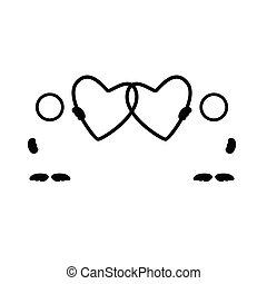 coração, vetorial, silueta, pretas