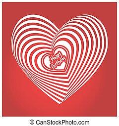 coração, vetorial, tridimensional, volume., experiência., óptico, birthday., branca, feliz, ilusão, vermelho, 3d