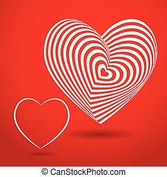 coração, vetorial, tridimensional, volume., experiência., óptico, branca, ilusão, vermelho, 3d