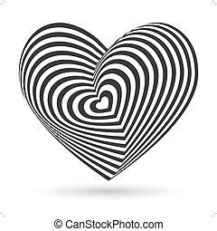 coração, vetorial, tridimensional, volume., experiência., óptico, pretas, branca, ilusão, 3d