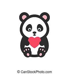 Coração, vetorial, urso, Ilustração,  Panda
