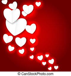 coração, vetorial, valentines, ilustração, papel, backgroung, dia