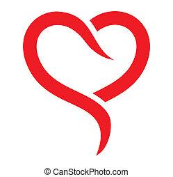 coração, vetorial, vermelho