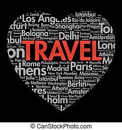 coração, viagem, palavra, amor, nuvem