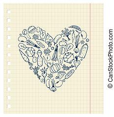 coração, vida, saudável, legumes, -, forma, desenho, seu