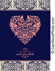 coração, vindima, convite, forma, ornate, floral, violeta