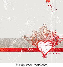 coração, vindima, flamejante, -, ilustração, mão, vetorial, desenhado