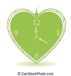 coração, vindima, forma, vetorial, relógio