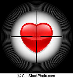 coração, vista, rifle