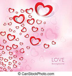 coração, voando, amor, fundo