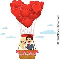 coração, voando, balões, dia, casório