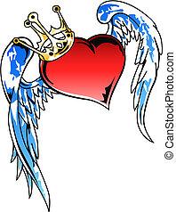 coração, voando, coroa, ilustração