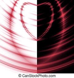 coração, white-black, contraste, fundo, ondas, vermelho