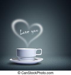 coração, xícara café, dado forma
