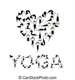 coração, yoga!, forma, desenho, amor, seu