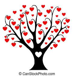 corações, árvore.
