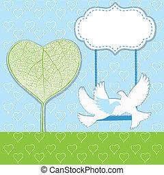 corações, árvore, com, dois pássaros