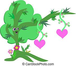 corações, árvore, feliz