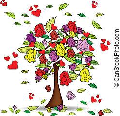 corações, árvore, rosas