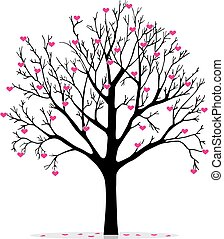 corações, árvore, valentine