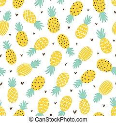corações, abacaxi, seamless, padrão