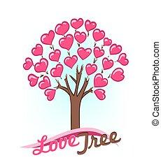 corações, abstratos, árvore, folhas, desenho