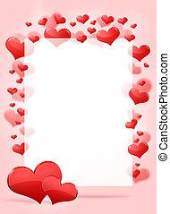 corações, abstratos, quadro, vermelho