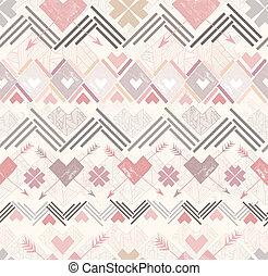 corações, abstratos, seamless, padrão