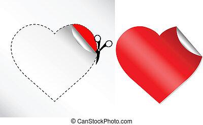 corações, adesivo, forma