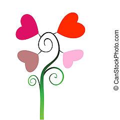 corações, amor, abctract, árvore